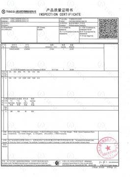 Certificado de inspección 304SS